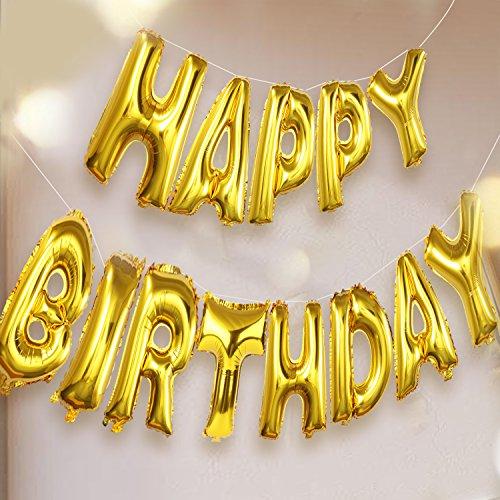 Funpa Feliz Cumpleaños Globos Letras Mylar Globos para la Decor de la Fiesta de Cumpleaños (Golden)