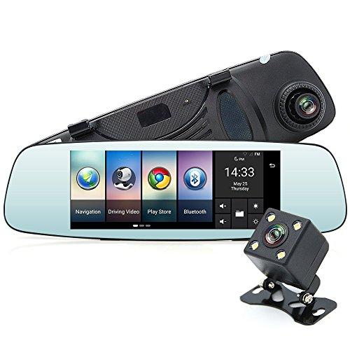 """Junsun 7\"""" 4G GPS Bluetooth Wi-Fi Auto Rückfahrkamera Dashcam mit Doppellinse"""