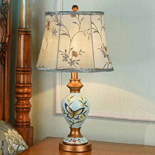 Europäische Tischlampe Schlafzimmer Nachttisch Lampen kreative Stoff Harz American Stil Studienraum Wohnzimmer einfache moderne Retro mediterrane Beleuchtung