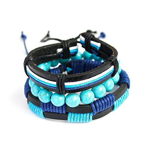Qiuday Herren Leder Armband Vintage Geflochtene Armbänder Schmuck Herren Einstellbar Armband ist justierbar mit justierbarem Knoten,kann justiert werden beide zwei Seiten durch selbst