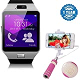 #6: Mi Redmi Note 4G Compatible Certified Bluetooth Smart Watch Wrist Watch Phone with Camera & SIM Card Support with Selfie Stick mini with Aux cable(1 Year Warranty)