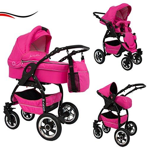 16 teiliges Qualitäts-Kinderwagenset 3 in 1 Maked 'LUCKY': Kinderwagen + Buggy + Autokindersitz + Schwenkräder - Mega-Ausstattung - faltbare Tragewanne - all inclusive Paket in Farbe Pink - Schwarzes Gestell