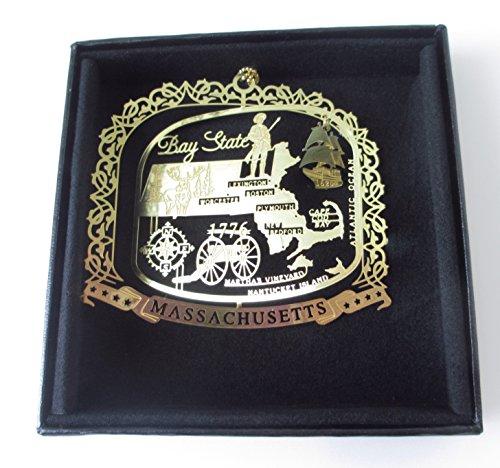 Massachusetts State Messing Weihnachten Ornament schwarz Geschenkbox aus Kunstleder