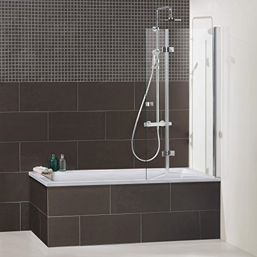 Duschkabine/Duschabtrennung Dusbad Vital 1 Aufsatz Badewanne/Drehfalttür ESG 6mm Made in Germany, Anschlag links