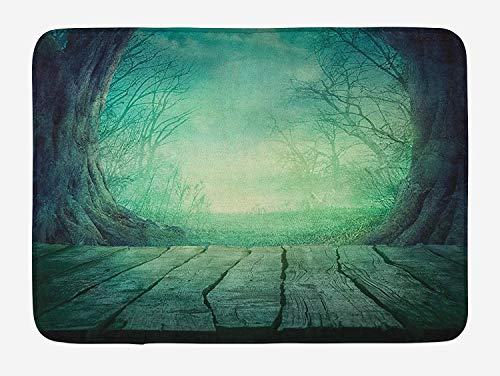at, Spooky Scary Dark Fog Forest with Dead Trees and Wooden Table Halloween Horror Theme Print, Plush Bathroom Decor Mat with Non Slip Backing, 23.6 W X 15.7 W Inches, Blue ()