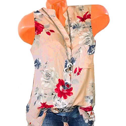 Weste Frauen Plus Size V-Ausschnitt ärmellose Taste Bluse Loose Print Pullover Tops Shirt