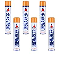 Aerosol Solutions Orange Line Marker Marking Spray Paint x 6 750ml