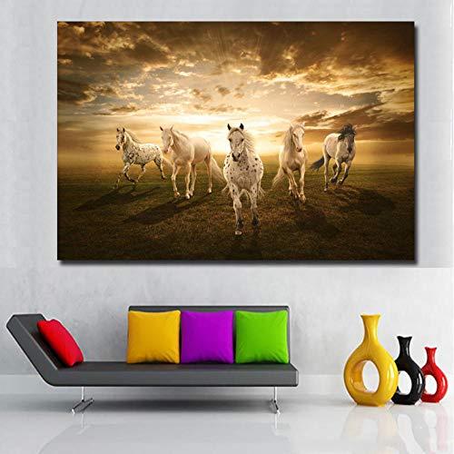Lebende Tiere Super Laufendes Pferd Hd Druck Leinwand Malerei Sonnenuntergang Wandbild Für Wohnzimmer Kunst Für Wohnkultur 60X90 cm ()