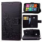 Schutzhülle Für Nokia Lumia 530 , pinlu® Handyhülle Hohe Qualität PU Ledertasche Brieftasche Mit Stand Function Innenschlitzen Design Glücklich Klee Muster Schwarz
