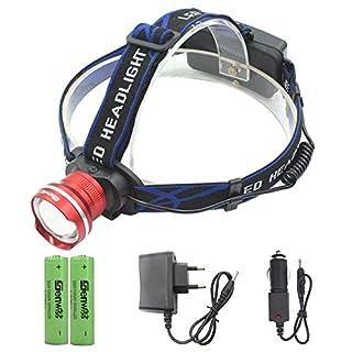 Siuyiu 3000 Lumen Kopflampe XML XM-T6 LED 3 Modus wasserdichter Summen Fokus Frontleuchte LED Stirnlampe T6 LED umfassen Camping Biking Jagen Fischen Reiten (rot)