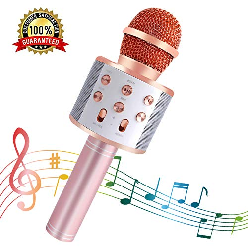 SeeKool Microfono Karaoke Bluetooth con LED Flash Funzione Eco, Wireless Portatile Altoparlante, KTV Player Home Party Regali di compleanno, Compatibile con Android/iOS/ipad/PC
