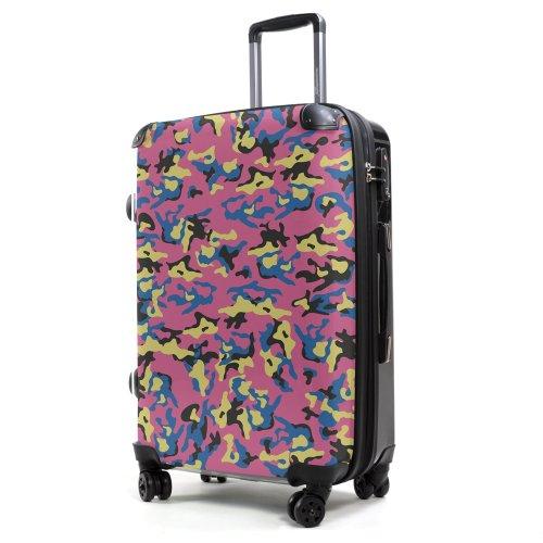"""HAUPTSTADTKOFFER® · Hartschalenkoffer Koffer Trolley Reisekoffer Hartschale · Serie """"Style"""" (Eule Strand Sonnenschirm) Camouflage Pink"""