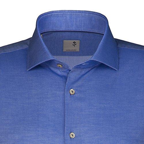 Seidensticker Herren Langarm Hemd Schwarze Rose Slim Fit Hai-Kragen Shark blau strukturiert mit Piping 242057.14 Blau