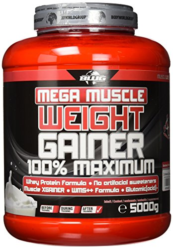BWG Mega Muscle Weight Gainer 100{485ca6ae6ea396b452a7d6e250c2b272f708e7c4b90f662f01579d784fcf5faf} Maximum - perfekt für HardGainer und Massephasen - Kraftaufbau - Mega Cookies & Cream - Dose mit Dosierlöffel - (1x 5000g Dose)