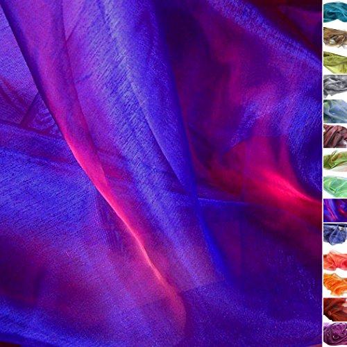 TOLKO® Meterware | Organza Deko-Stoff Transparent mit Farbwechsel zum Nähen - Dezent Glänzend und Hauch Zart (Kobaltblau-Rot)