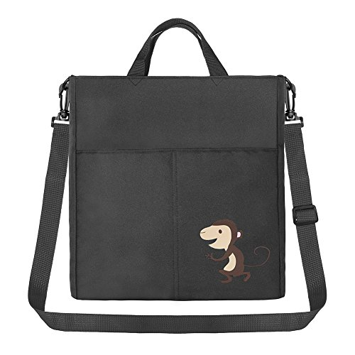 IntiPal Kinderwagen Organizer Tasche Wasserdichte Wickeltasche für Buggy (Schwarz mit Elefant) Grau mit Affe
