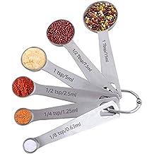 Vicloon Set 6 Cucharas Medidoras 18/8 Acero Inoxidable, para Medir Líquidos y Los Ingredientes Secos