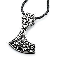 Miss–E–Jewels TM argento antico ornato Mammen ascia ciondolo collana da donna da uomo Viking Norse Sekira amuleto Nordic Thor Rune