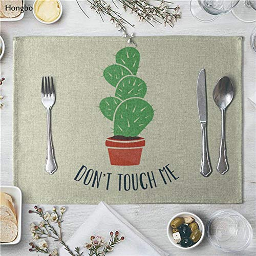 Erweiterung Esszimmer Set (LY/WEY 4 Pcs 40 * 30Cm Linen Placemat Succulents Cactus Plants Pattern Dining Table Mat Cloth Table Napkin for Wedding Kitchen Cup Mat Party Decoration,B)