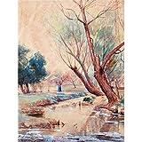 Onderdonk Landscape Figure Stream Nature Tree Painting Art Print Canvas Premium Wall Decor Poster Mural Landschaft Natur Baum