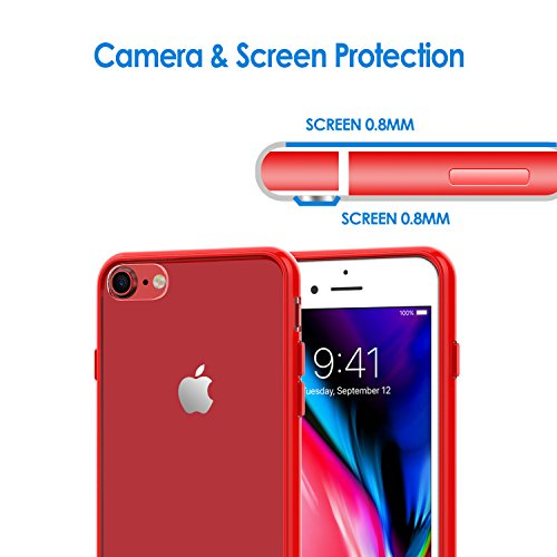 Coque iPhone 8 7, JETech iPhone 8 7 Case Coque Housse Etui Shock-Absorption Bumper et Anti-Scratch Effacer Back pour Apple iPhone 7 et iPhone 8 4.7 Inch (Noir) Rouge