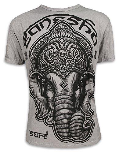 SURE Herren T-Shirt Tribal Ganesha Heiliger Elefanten-Gott Indien Ethno Hinduismus Hippie (Hellgrau L)