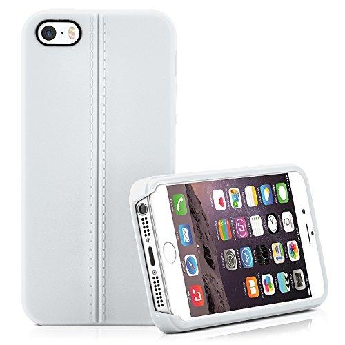 Premium Handy Tasche für iPhone 5 / 5S / SE | Silikon Hülle in eleganter Leder Optik | Handy Schutz Case von OneFlow | Back Cover in Schwarz COCO
