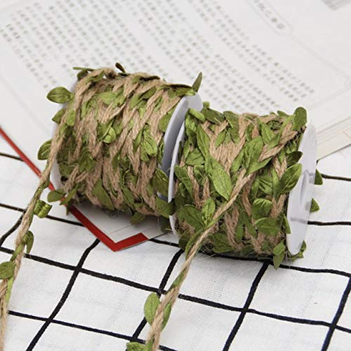 DÉCOCO 2 Rollos Cuerda de hilo de colores naturales Cuerda de yute Cuerda de yute para bricolaje artesanal, Decoración de jardín de bodas, Regalos de Navidad - 10M (393.7inches) cada rollo.