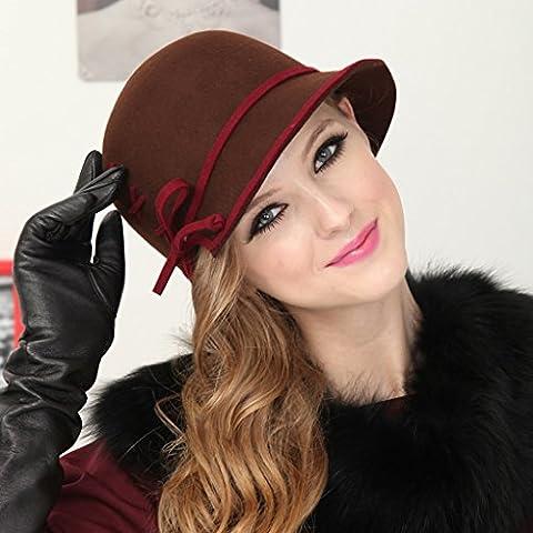 Inghilterra Retro Dome Wool Cap Autunno Inverno Giorni Cappello donna Cappello Bowl ( colore : Marrone )