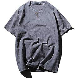 DONGXIN Tang Traje para Hombre, Camiseta, Verano, para Hombre, Ropa de Manga Corta, Cuello Alto, Soporte, Camisa para Hombre, algodón y Lino, Estilo Chino Hanfu Zen (Color : A, Size : XL)