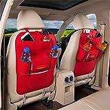2 Stück Rückenlehnenschutz Auto Rücksitz Organizer Utensilientasche Kinder Wolle Filz Sitz Tasche Storage Bag, Rot