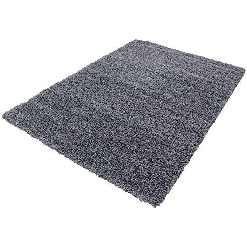 HomebyHome Shaggy Hochflor Langflor Einfarbig Günstig Teppich für Wohnzimmer mit Oeke Tex Zertifiziert 14 Farben und 17 Grössen, Größe:140x200 cm, Farbe:Grau