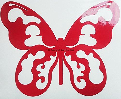 UvV-Shop Leuchtaufkleber Schmetterling (Falter, Sommervogel, Butterfly, Papilio), Warnaufkleber 220 x 180 mm großer reflektierender Schmetterling als Reflektor / Aufkleber - Unfälle vermeiden vorbeugen (rot)