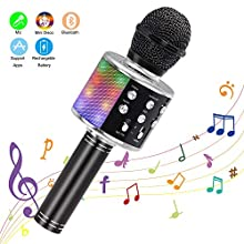 Wireless Karaoke Microphone, Ankuka Handheld Bluetooth Microphones Speaker Karaoke Machine with Dancing LED Lights, Home KTV Player Compatible with Android & iOS Devices for Party/Kids Singing, Black