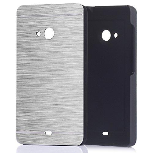 tinxi® Harte Schutzhülle für Microsoft Lumia 535 Hülle Rück Schale Cover Case Schutz aus gebürstetem Stahl mit silikon Rand sowie Innenschale Silber