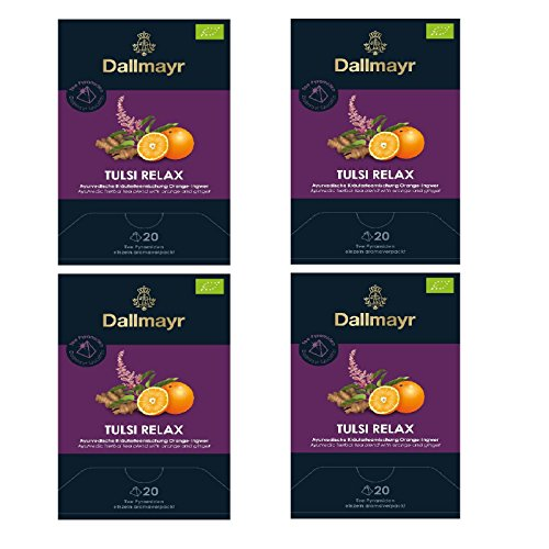 4 x Dallmayr Tulsi Relax Bio Tee Ingwer Orange 20 Pyramiden a 2,5g