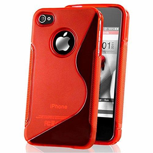 HCN PHONE Apple iPhone 4/4S/4G Etui S-LINE TPU Gel Silikon Hülle Flexibel für Apple iPhone 4/4S/4G - ROT - 4s Gel