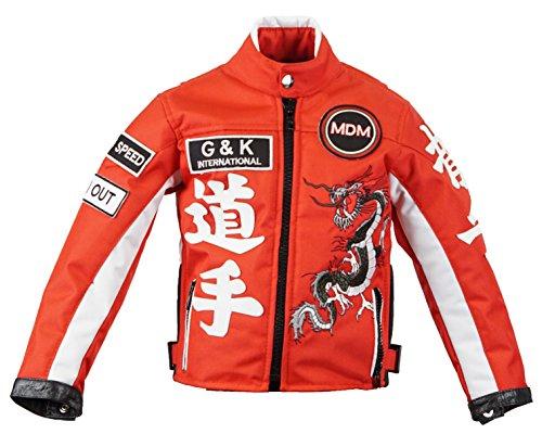 Motorradjacke für Kinder in rot, Bikerjacke, Drachen Jacke, (M)