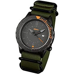 INFANTRY® Mens Analogue Wrist Watch Date Display Black Dial Sport Green NATO ZULU Nylon Strap