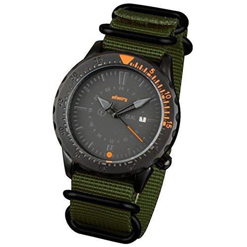 INFANTRY® Herren Analoges Quarzwerk Armbanduhr Datum Armee Outdoor Grün Nylon Band Edelstahl Militäruhr