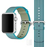 Brain Freezer Replacement Woven Nylon Watch Strap Apple IWatch Series 1, Series 2 , Series 3 38MM Light Blue Watch Not Including Plus Screen Guard