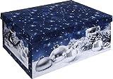 Große Aufbewahrungsboxen aus Karton mit Deckel und Griffen, weihnachtliches Design in Rot mit blauen und weißen Weihnachtsbaumkugeln blau