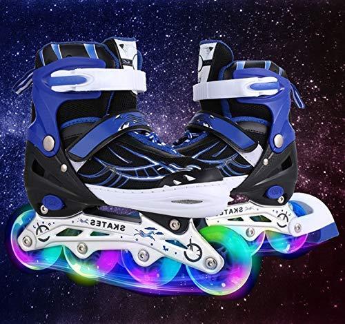 Hiriyt Leucht PU Räder Inline-Skates, Rollerblades für Kinder, größenverstellbar von 31 bis 42, ideal für Anfänger, komfortable Rollschuhe, Inliner für Mädchen und Jungen (Blau, EU 35-38) (Inline-skate-rad-lager)