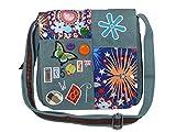 Umhängetasche Canvas Style mit aufgenähten Patches, Buttons und floralem Muster - Maße 25 x 25 cm - Damen Mädchen Teenager Tasche (petrol)