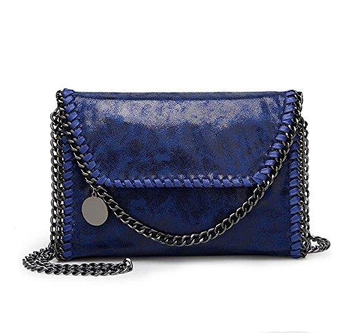Angleliu Damen PU lässigen Kette Handtasche Modisch Schultertaschen Glitzer Beuteltasche (Kleiner blauer Stil)