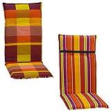 Wendeauflage Gartenstuhlauflage Sitzkissen Polster Stuhlkissen für Hochlehner kariert oder Streifen