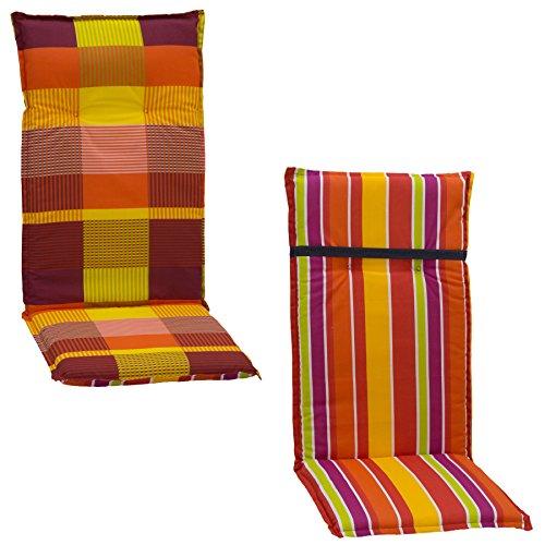 Wendeauflage Gartenstuhlauflage Sitzkissen Polster Stuhlkissen für Hochlehner kariert oder Streifen hellgrün orange gelb violett