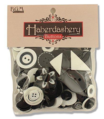 Buttons Galore Knöpfe aus robustem Kunststoff BGHAB111, Schwarz/Weiß -
