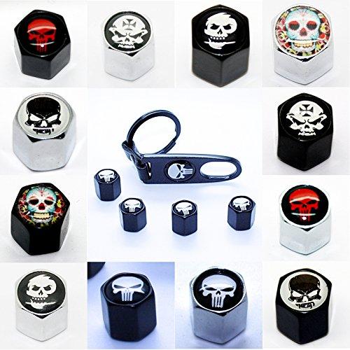 LED-Mafia 4 Ventilkappen + Schlüsselanhänger - Totenkopf Black Punisher Chrom - Ventil Anhänger Schlüsselring Etui Schlüssel Totenkopf Chrom