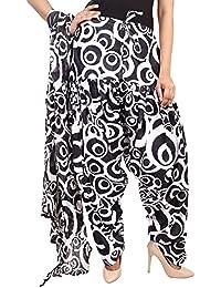 BILOCHI'S Women Printed Solid Cotton Full Patiala Salwar With Dupatta Set(Free Size, Black & White) - B076ZP8NJ2